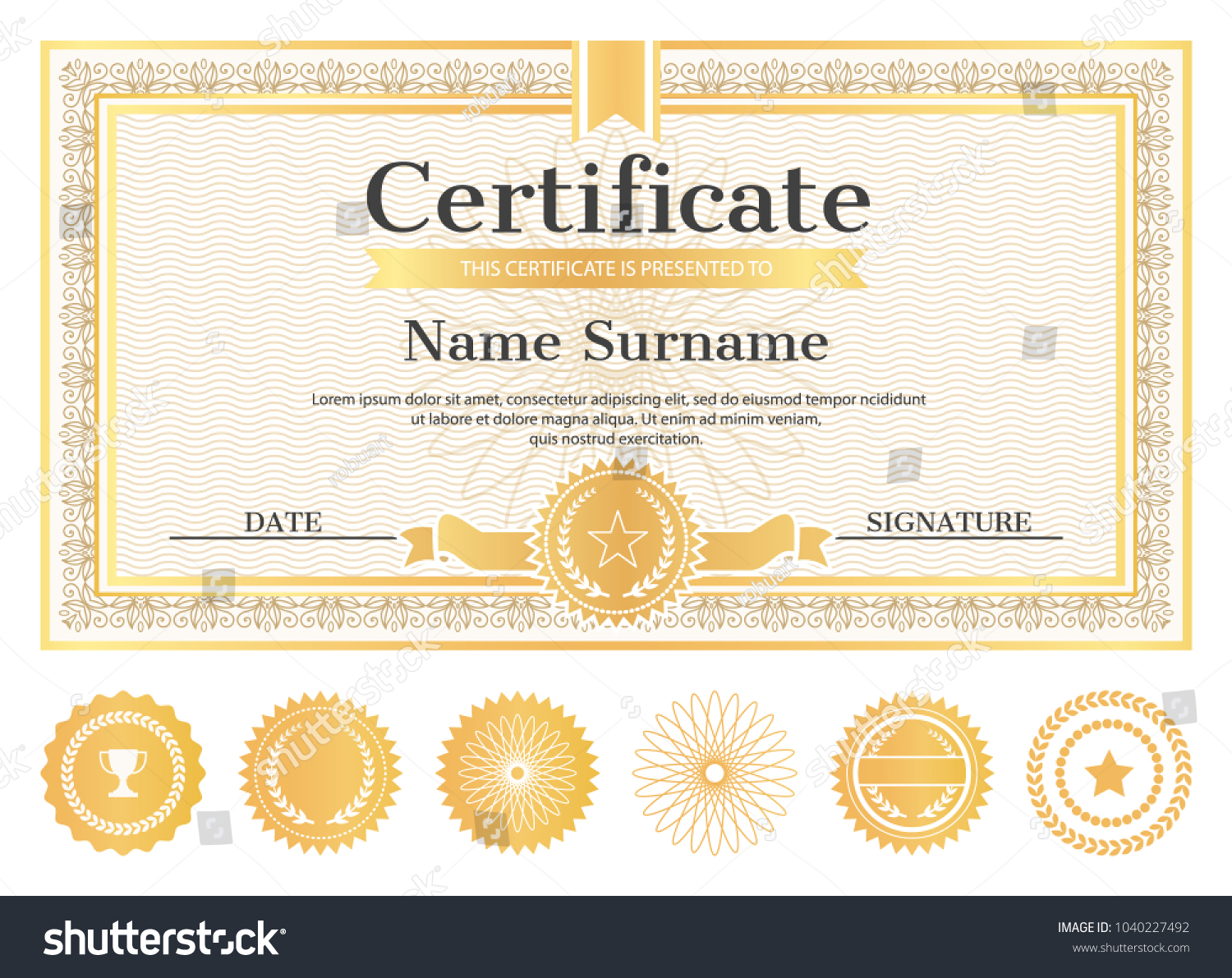 Certificate sample place name surname date stock photo photo certificate sample with place for name and surname date and signature template of certificate yelopaper Gallery