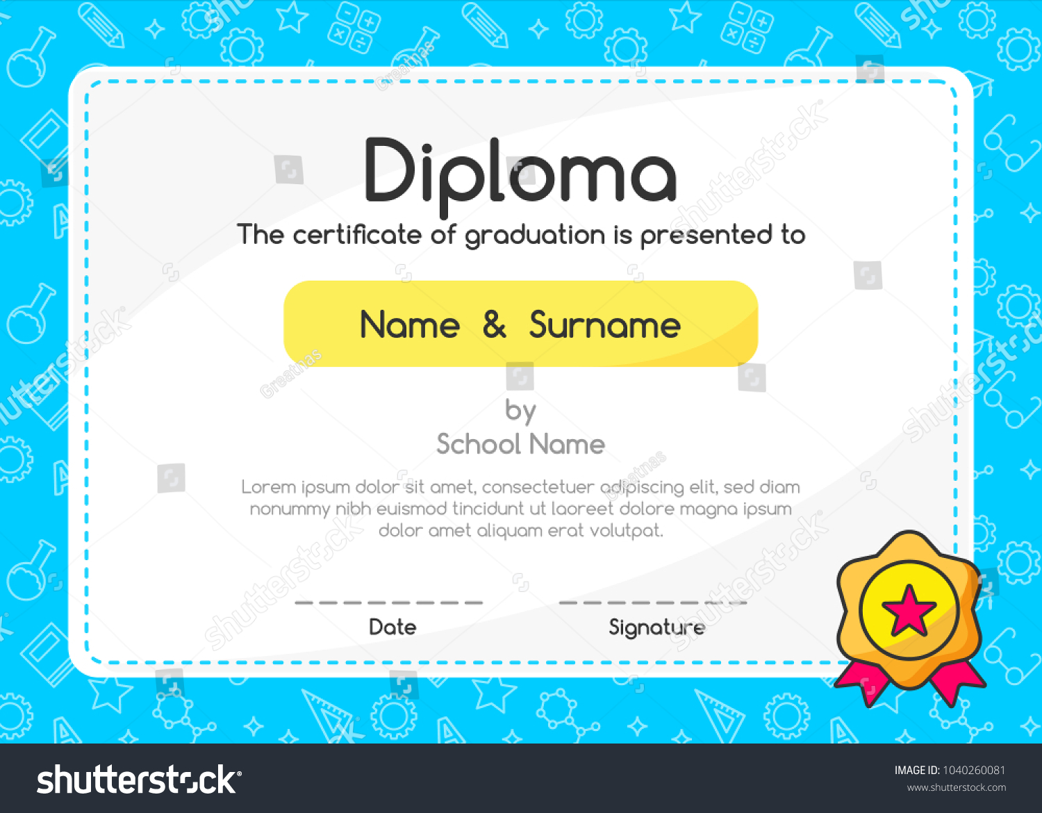 Kids Diploma Certificate On Blue Background Stock Vector (2018 ...