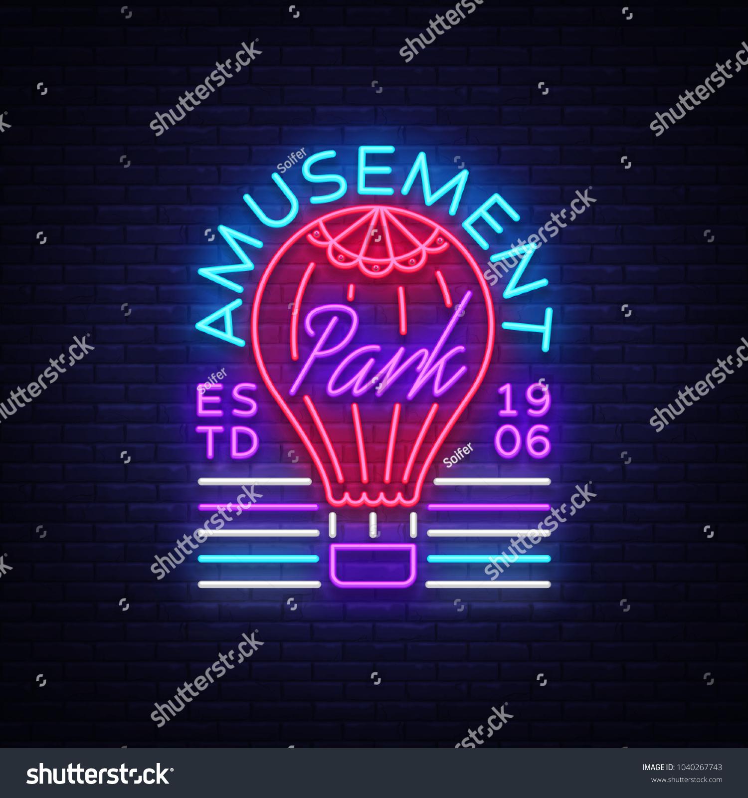 Amusement Park Logo Neon Style Design Stock Vector Royalty Free 1040267743