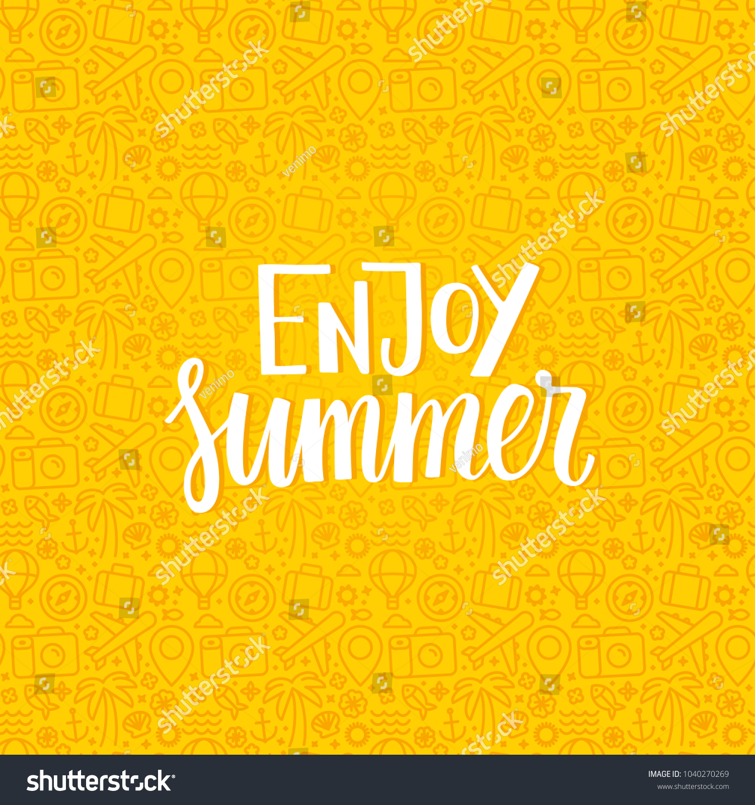 Vector illustration in flat line style - enjoy summer - hand-lettering and pattern with linear icons related to vacation and travel