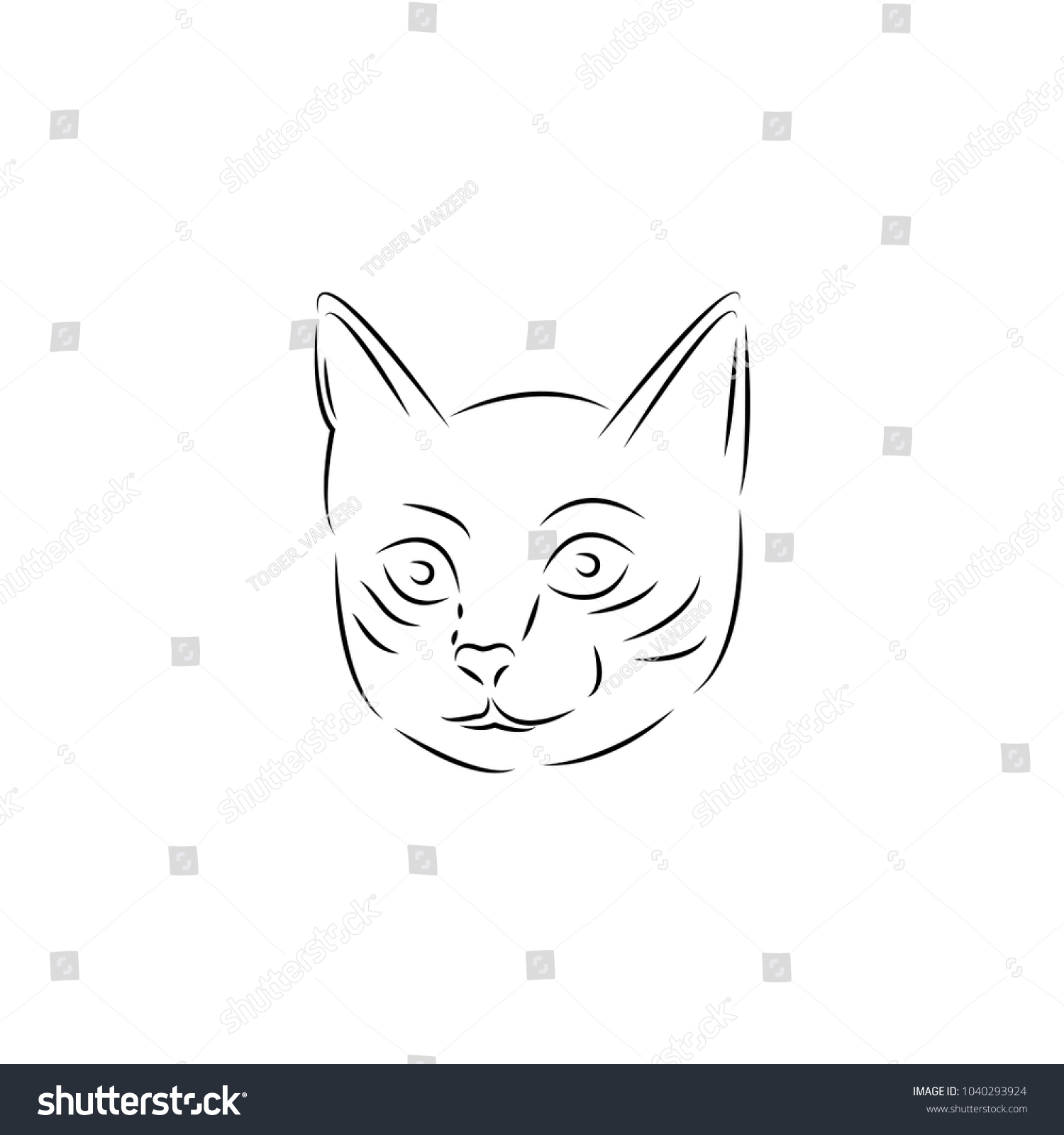 Cat Sitting Looking Up Stylized Cat Drawing Icon Vector Line Art