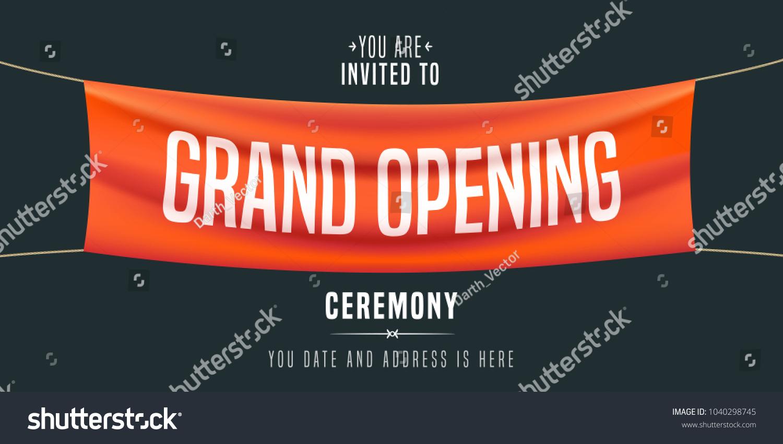 grand opening vector illustration background invitation stock vector