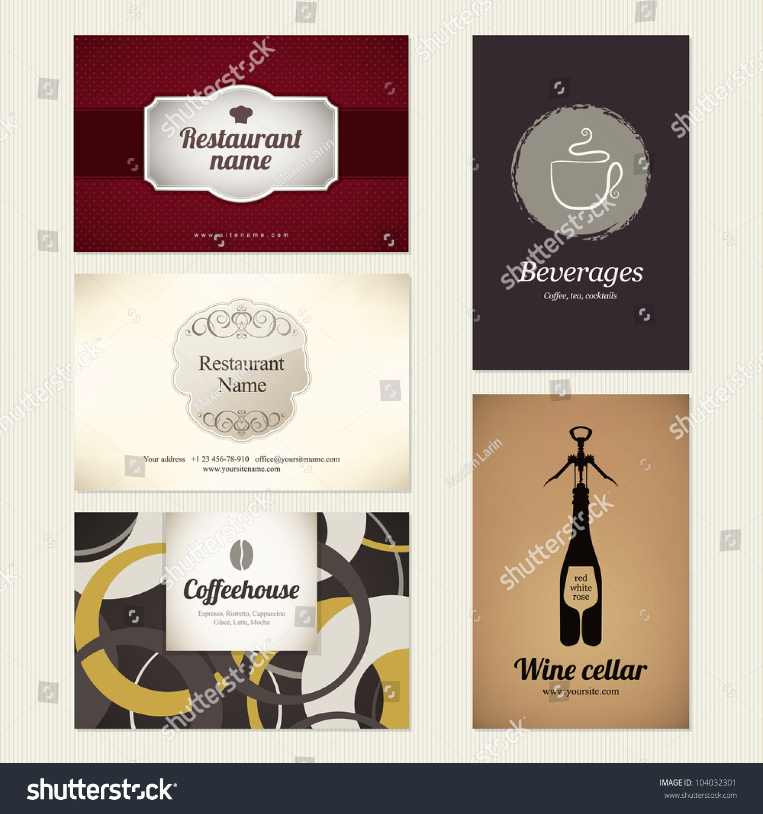 Set 5 detailed business cards cafe stock vector 104032301 shutterstock reheart Choice Image