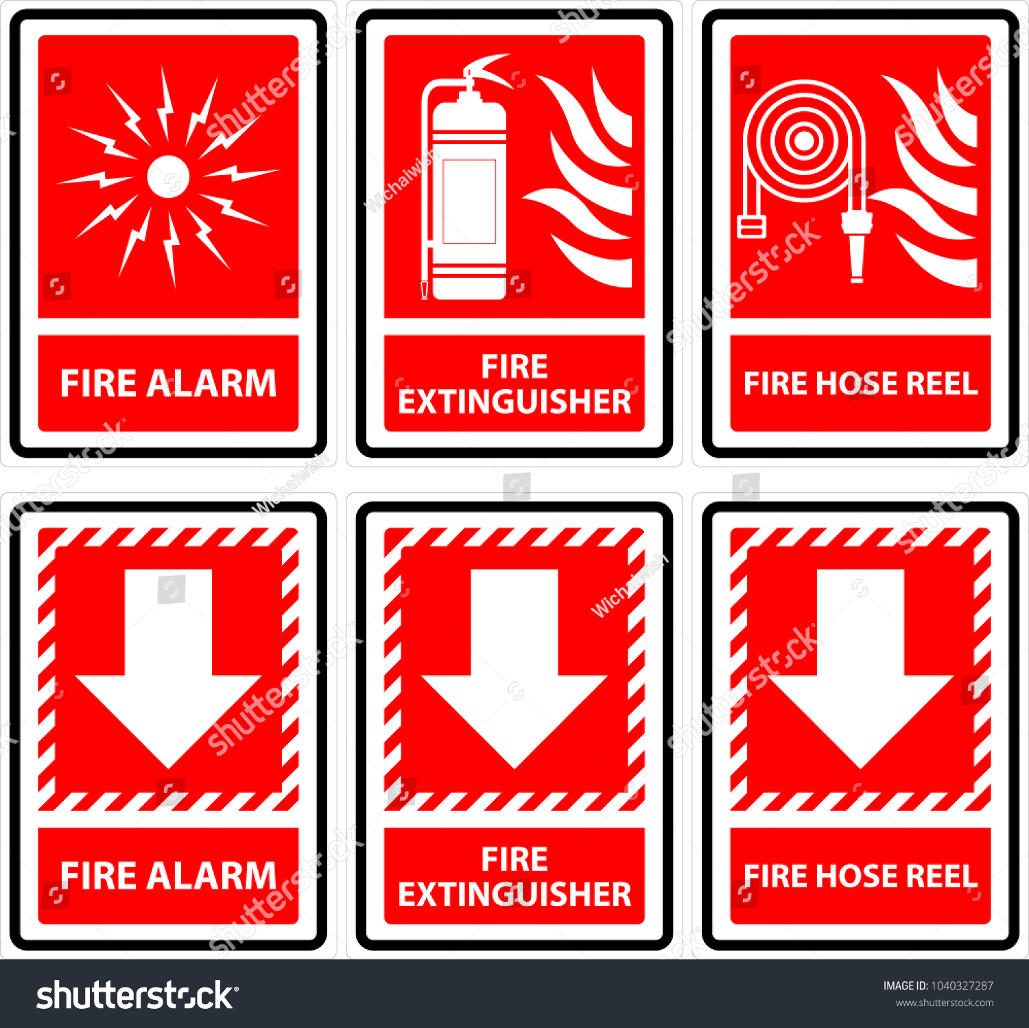 Symbols Sign Fire Alarmfire Extinguisher Fire Stock Vector Royalty