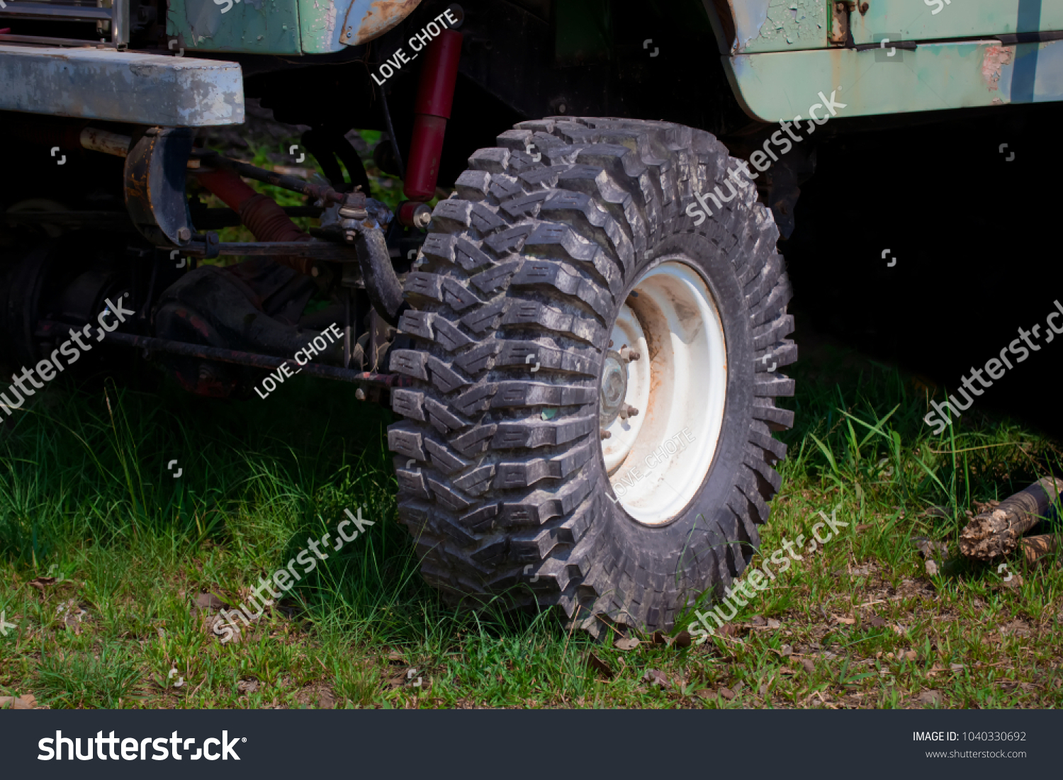 Car Tiresatv Tires Big Thickthe Front Stock Photo Edit Now 1040330692