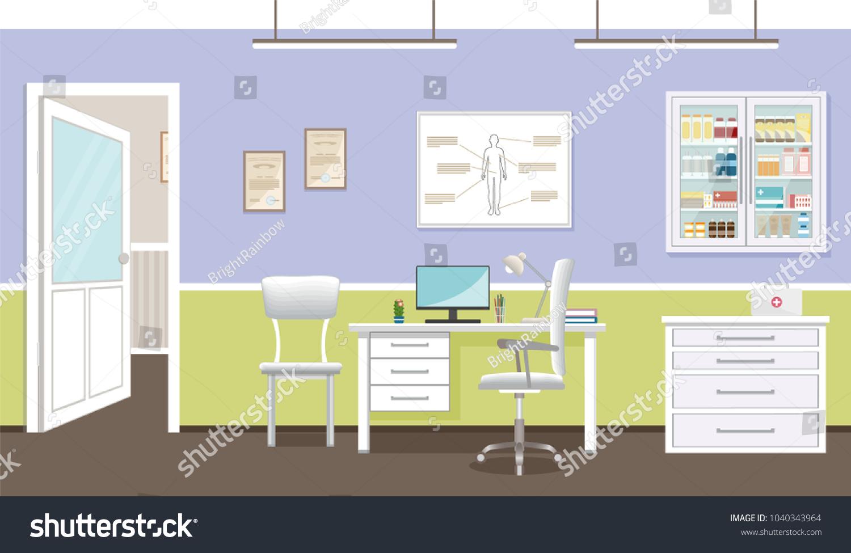 Doctors Consultation Room Interior Clinic Hospital Stock Vector