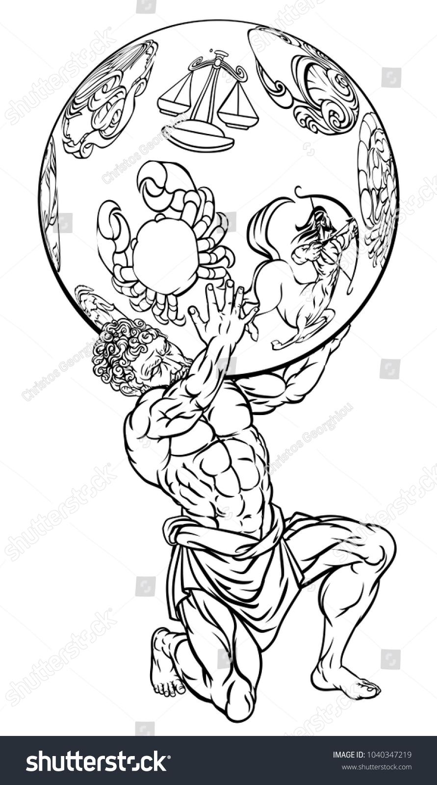Atlas Titan Greek Mythology Holding Sky Stock Illustration
