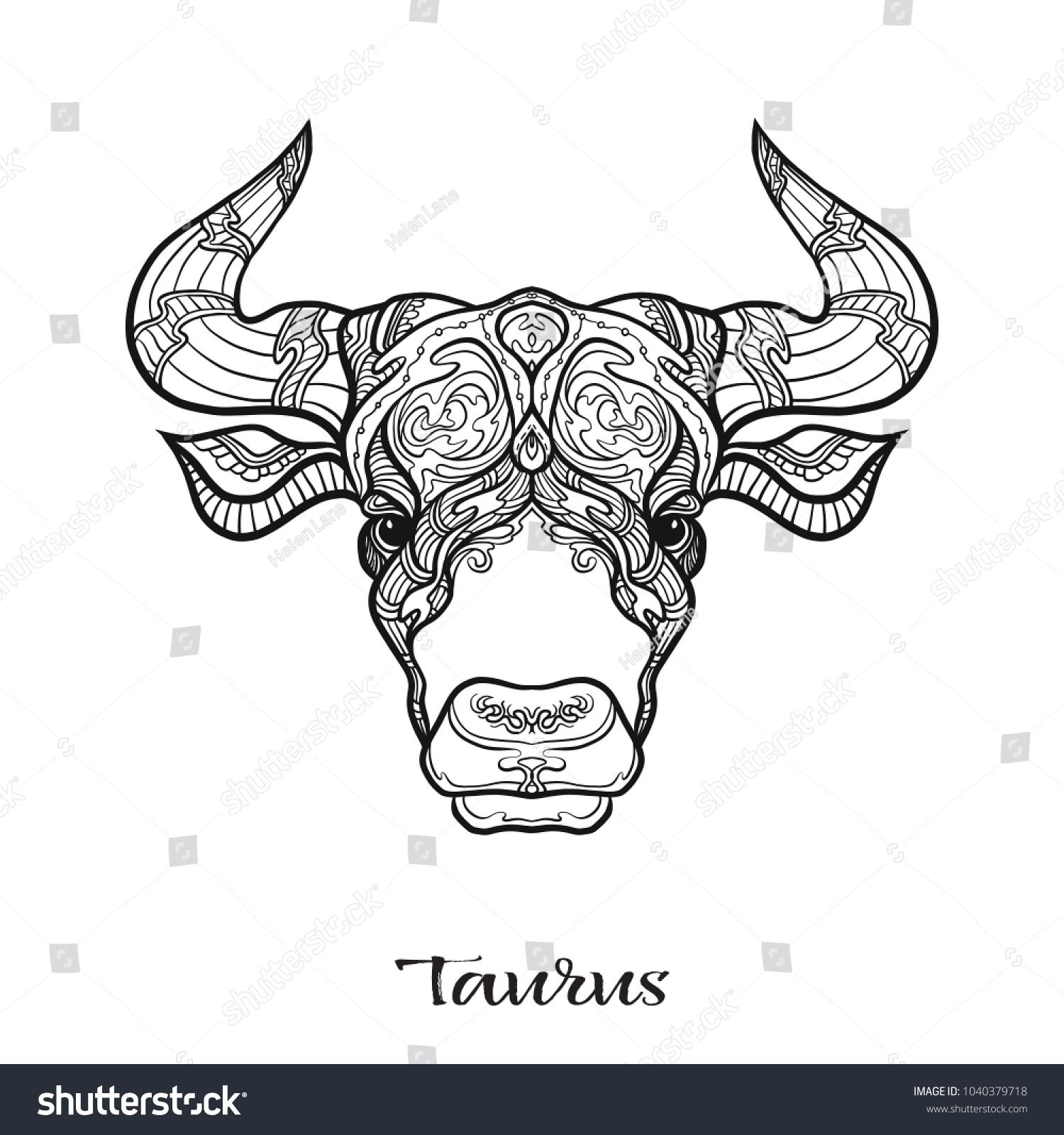 Taurus Bull Ox Zodiac Sign Astrological Stock Vector (Royalty Free ...
