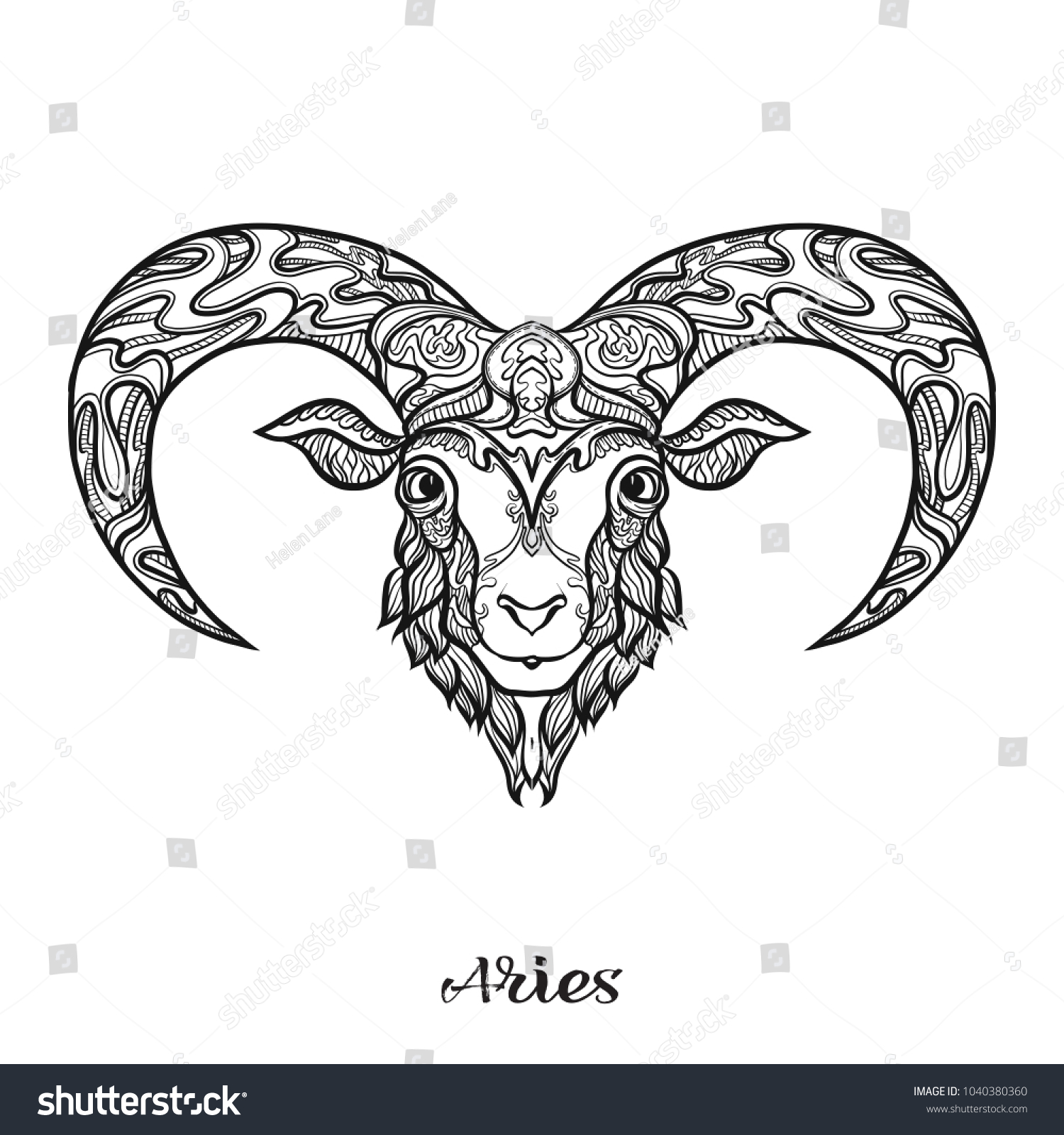 Aries Sheep Ram Zodiac Sign Astrological Stock Vector Royalty Free