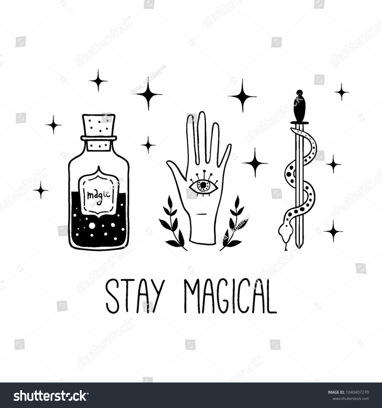 Stay Magical Vector Witch Magic Design Stock Vector Royalty Free