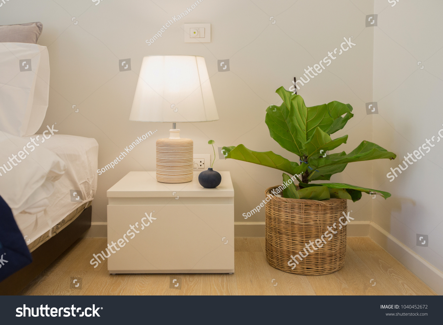 Lamp On Bedside Table Plant Pot Stock Photo Edit Now 1040452672