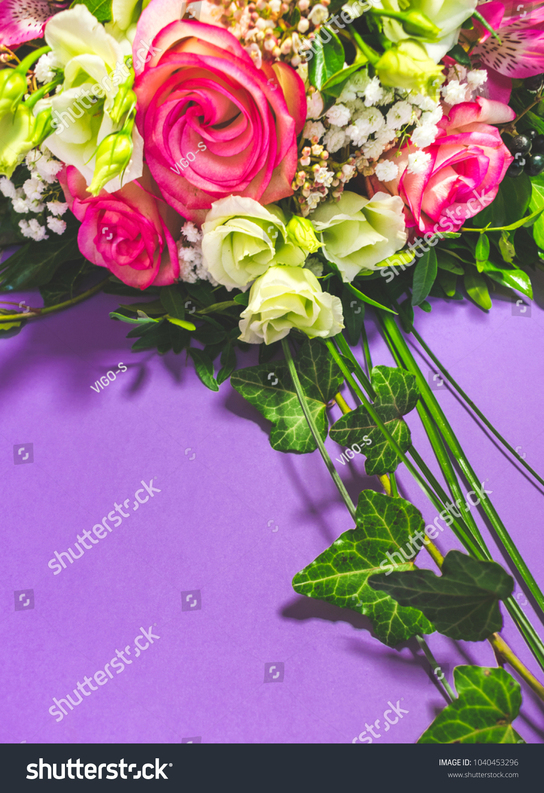 Top view beautiful bouquet pink roses stock photo edit now top view of beautiful bouquet of pink roses pink alstroemeria and white lisianthus flowers on izmirmasajfo