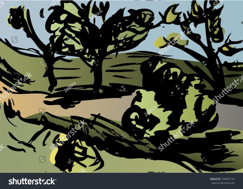 Vector Illustration Artistic Landscape Stock Vector 104047742 ...