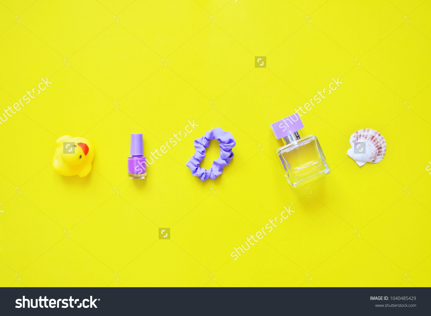 Toy Yellow Rubber Duck Purple Nail Stock Photo (Royalty Free ...