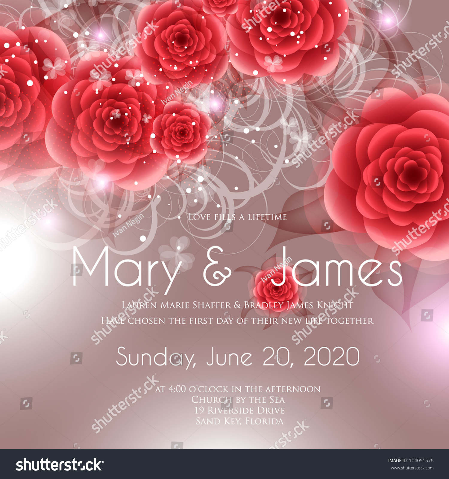 Wedding Card Invitation Abstract Floral Background Stock Vector ...