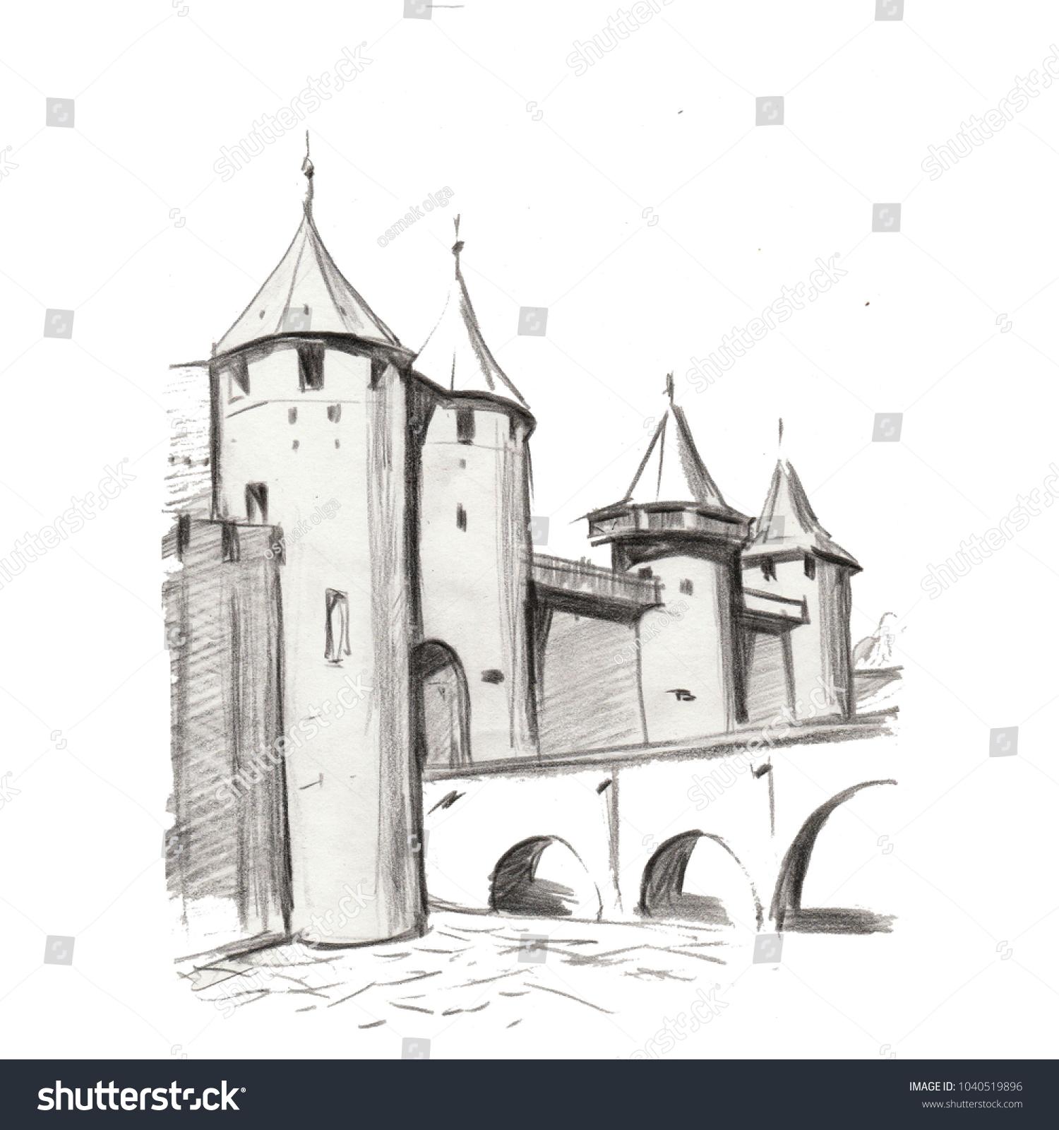 Illustration hand pencil drawing landscape architecture nature building historical castle town gothic bridge old ansient composition