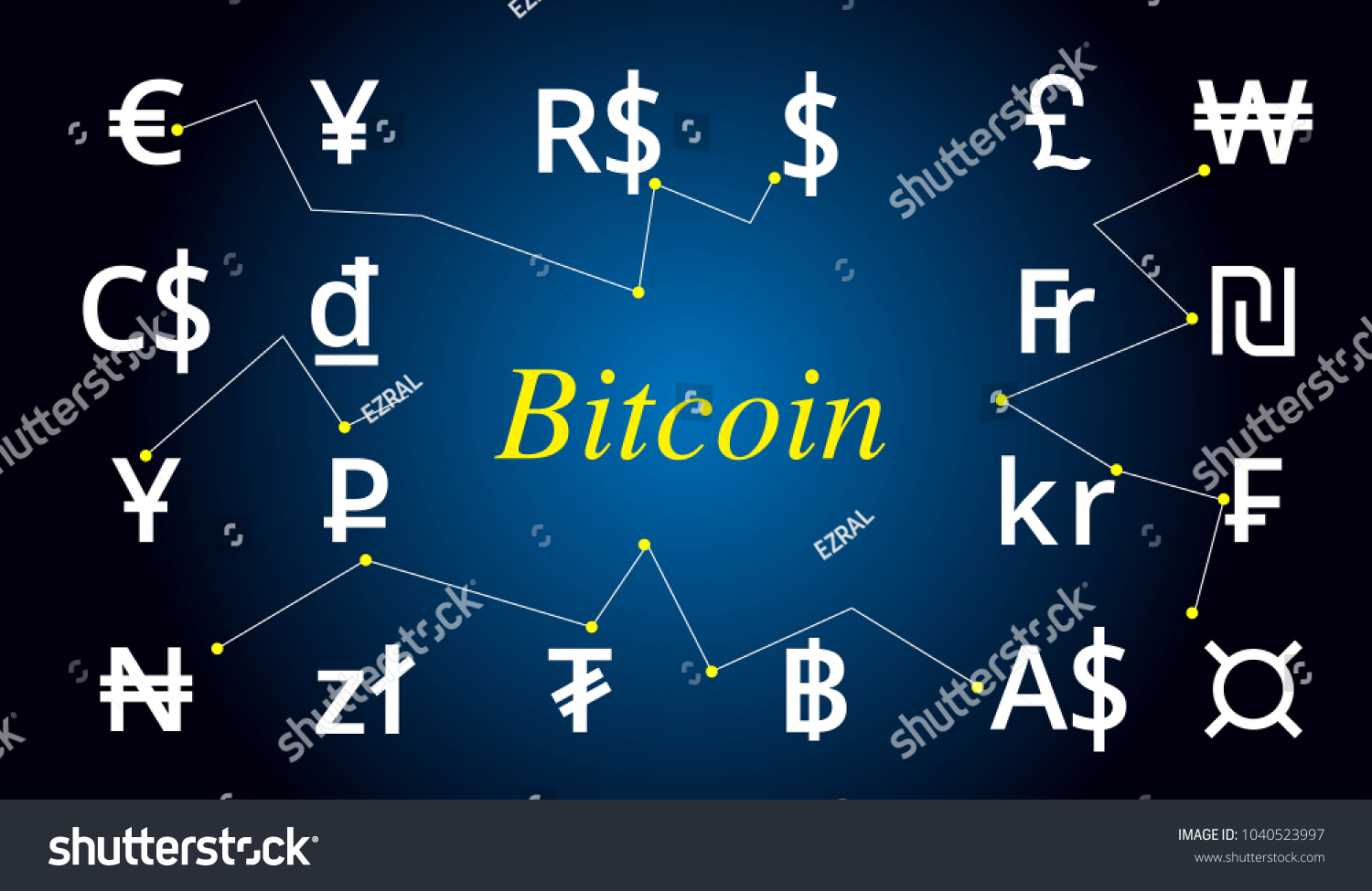 Currency Symbol Vector Background Text Bitcoin Stock Vector 2018