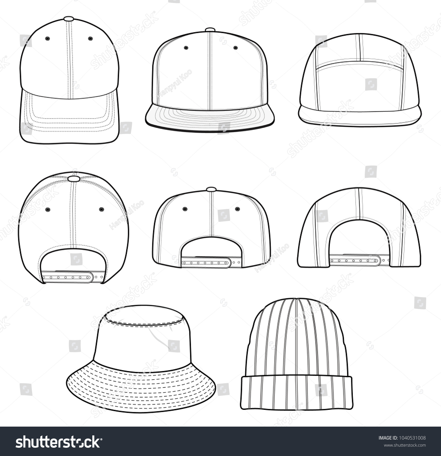 Hat Beanie Design 2018 Illustration Flat Sketches Template