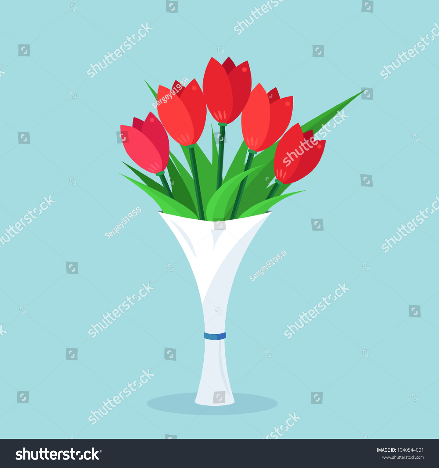 Bouquet Red Tulip Bunch Flowers Isolated Stock Vector 1040544001