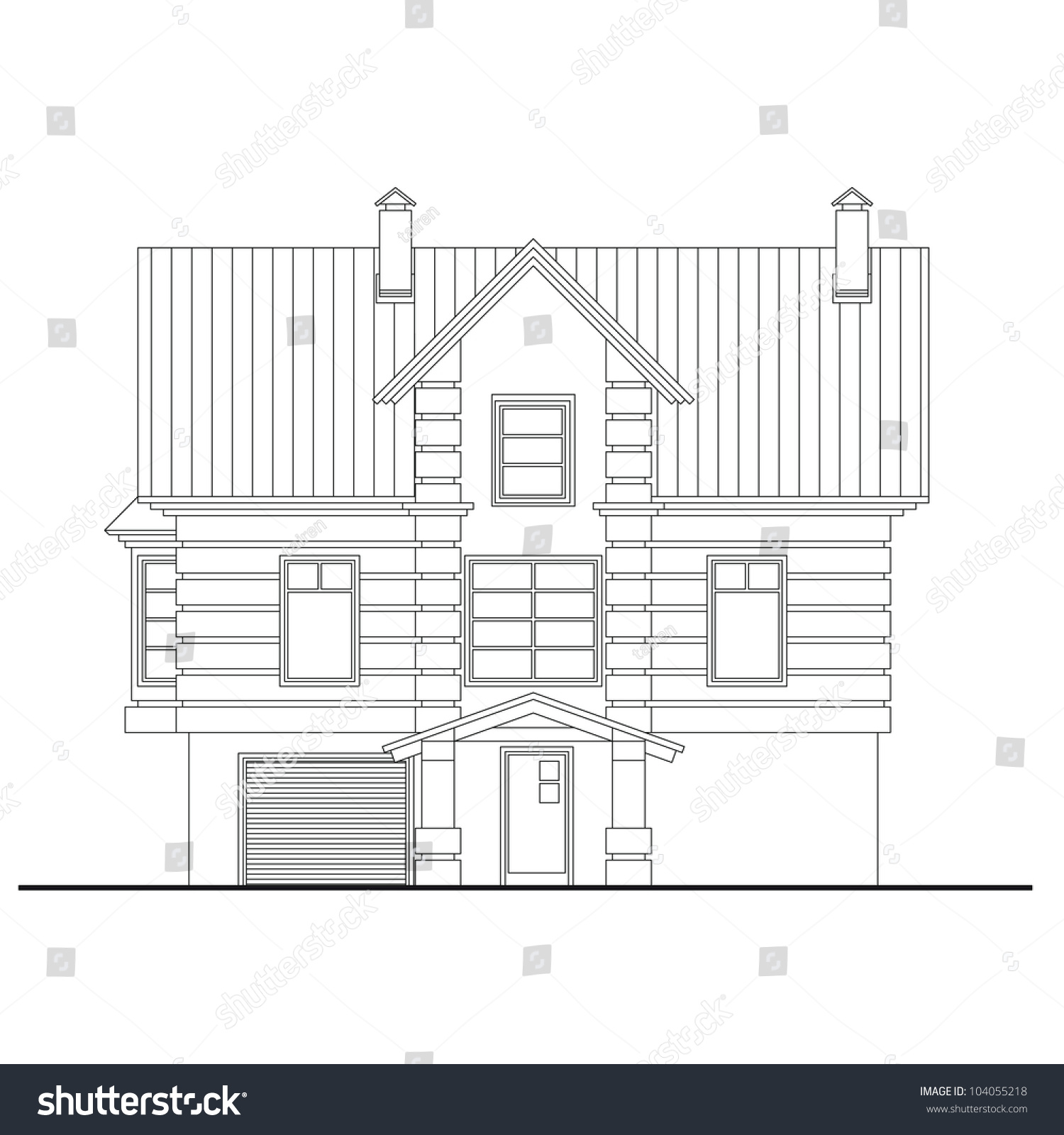 Detailed Drawing Of Small House Front Facade With Masonry