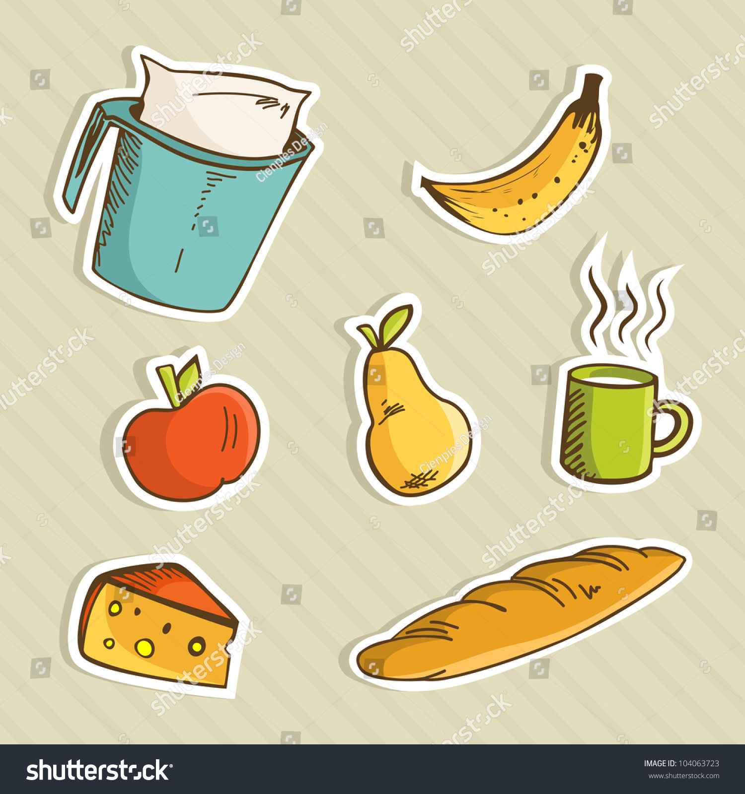 Healthy Cartoon Food Breakfast Apple Banana Stock Vector ...