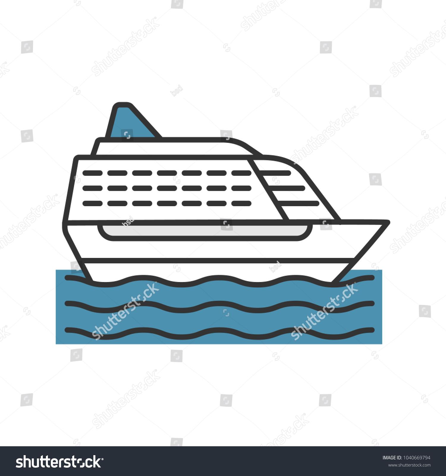 Cruise Ship Color Icon Isolated Vector Vector de stock (libre de ...