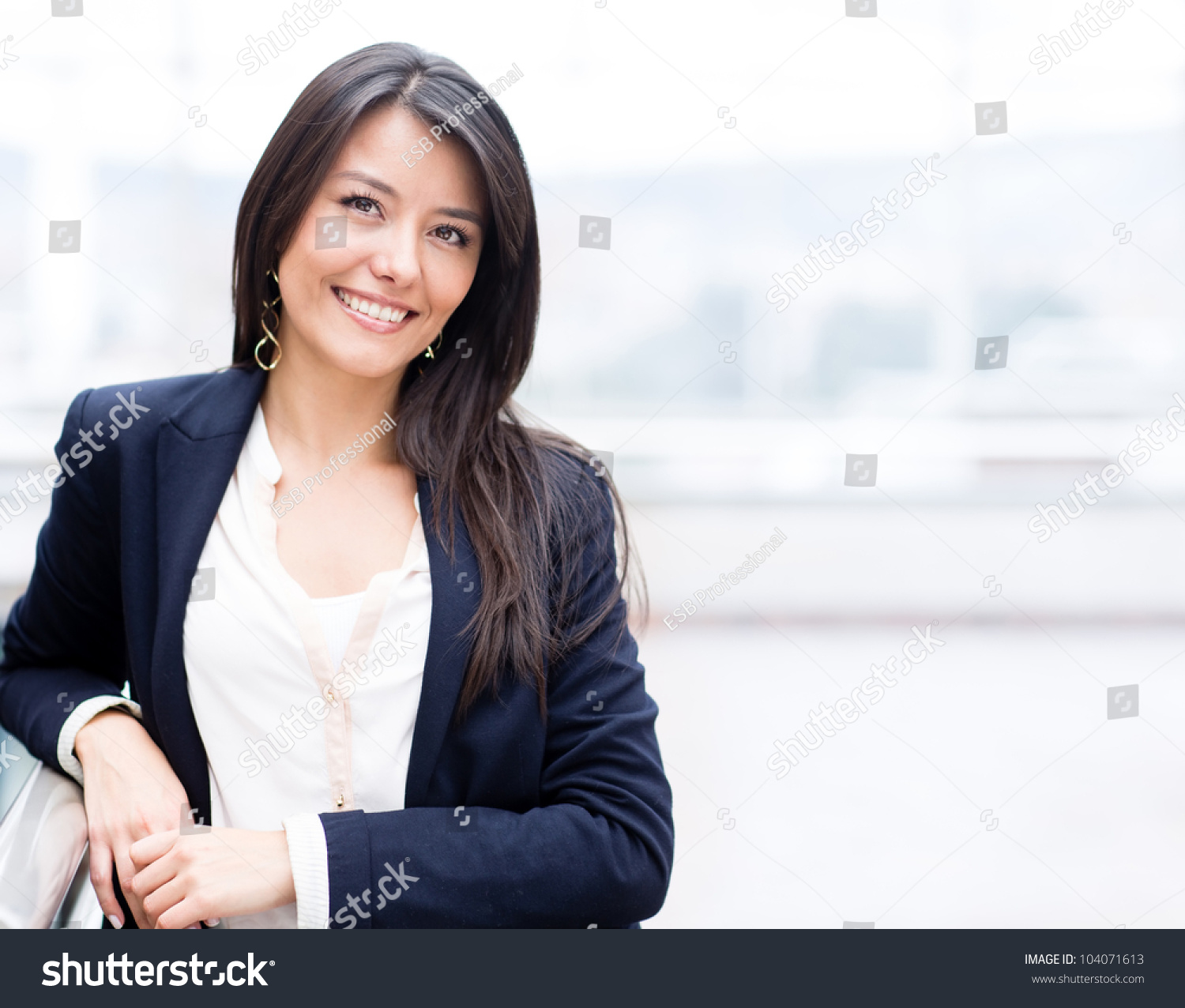 successful business w looking confident smiling stock photo successful business w looking confident and smiling
