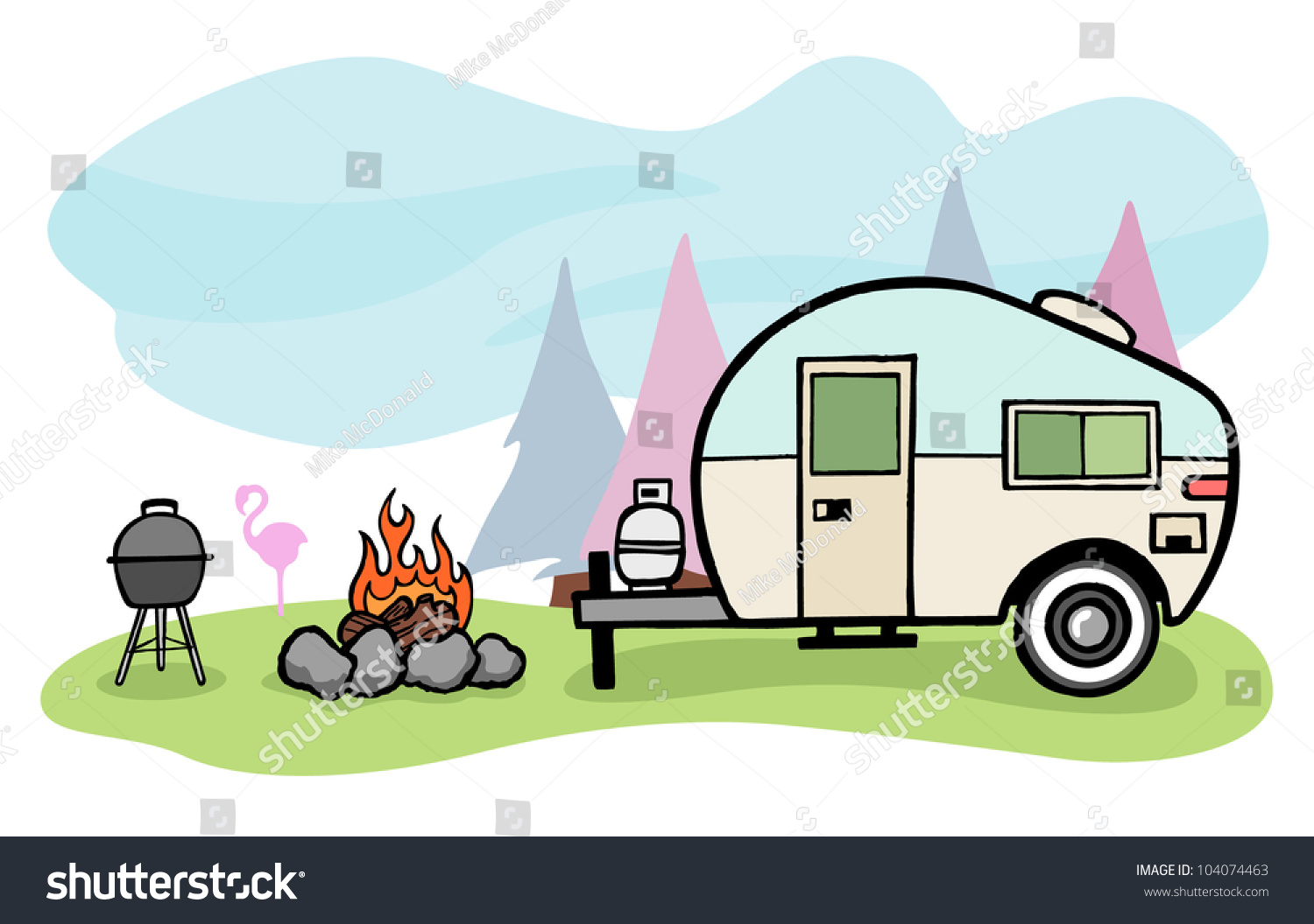Cool Modern Camper Trailer Vector Clip Art Cartoon