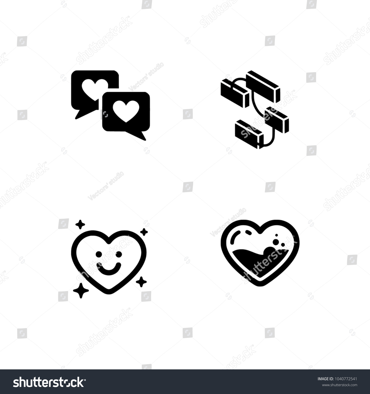 relationship friendship icon set set icon stock vector 1040772541