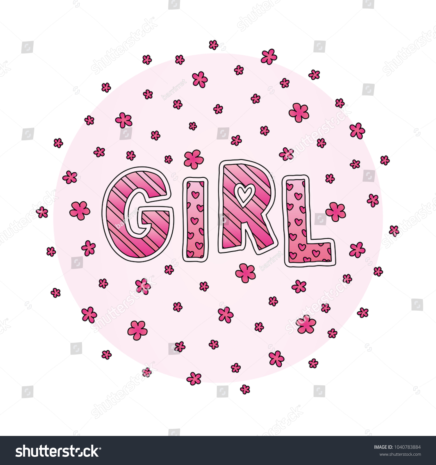 Word Girl Flowers Hand Lettering Pink Stock Vector (Royalty Free ...