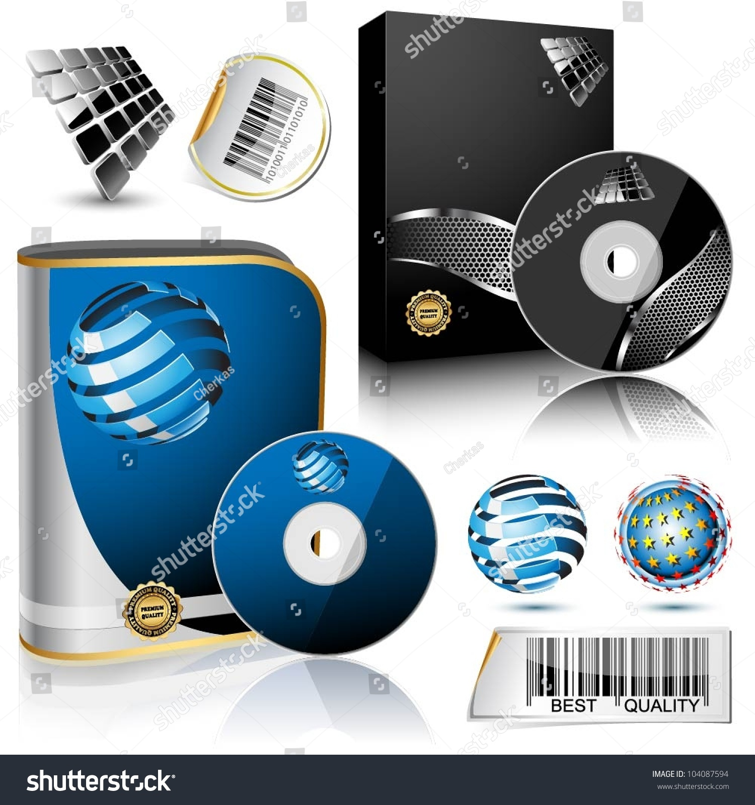 Software box and disc isolated on white background vector Vector image software