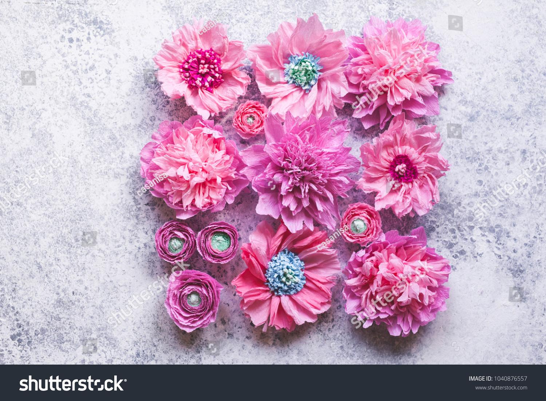 Pink Paper Flower Ornament Peones Ranunculus Stock Photo Royalty