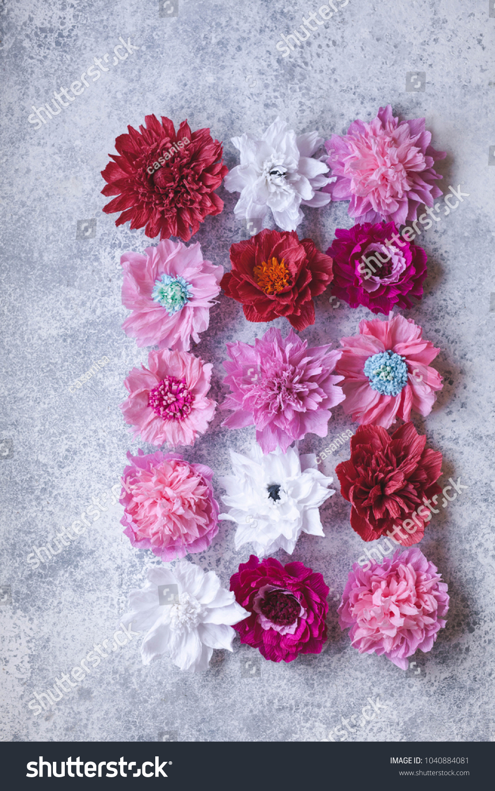 Wallpaper Crepe Paper Flowers Background Peones Stock Photo Edit