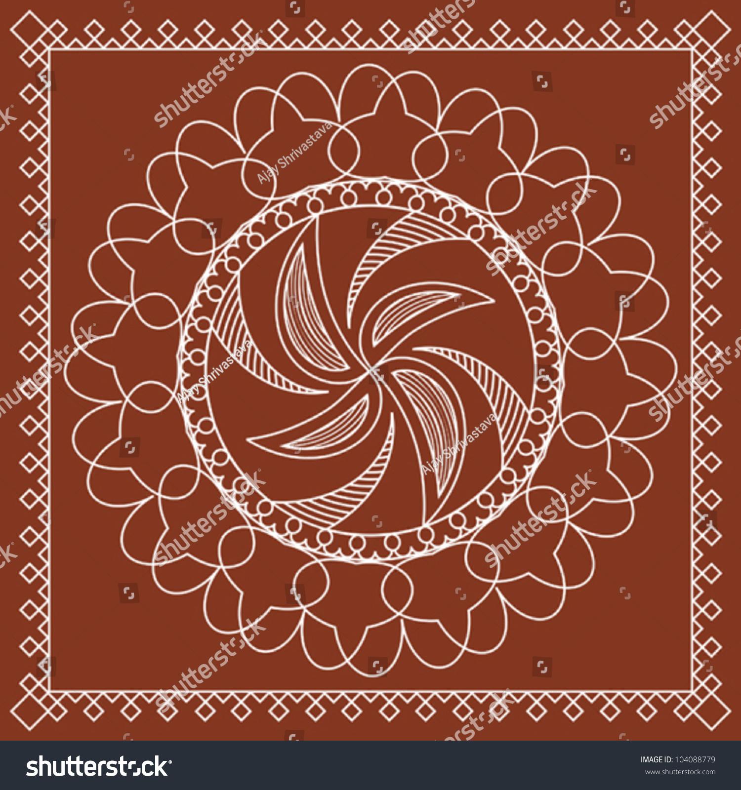 tribal folk motif design wall painting stock vector illustration 104088779 shutterstock. Black Bedroom Furniture Sets. Home Design Ideas