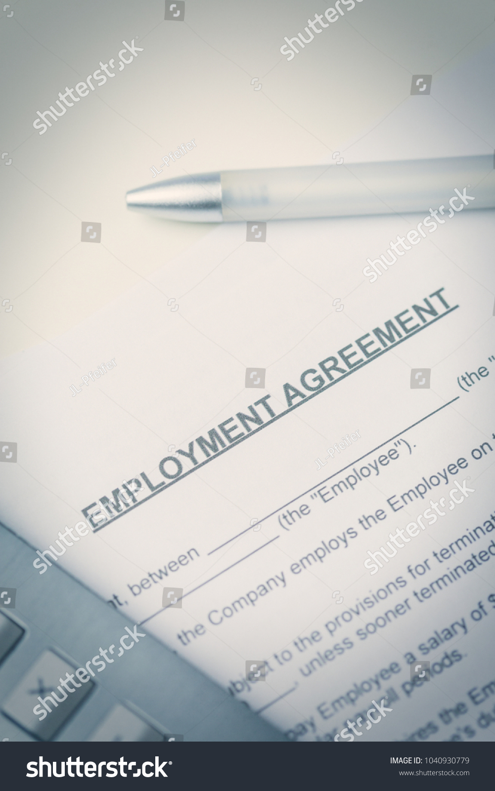 Agreement Employment Pen Laptop Lying On Stock Photo Edit Now