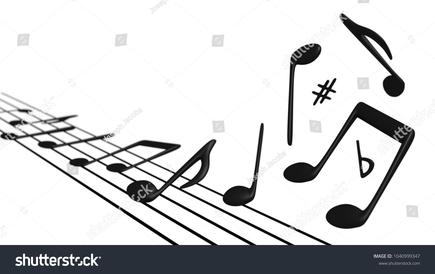 Musical notes symbols flying off staff stock illustration musical notes and symbols flying off a staff into the air biocorpaavc Gallery