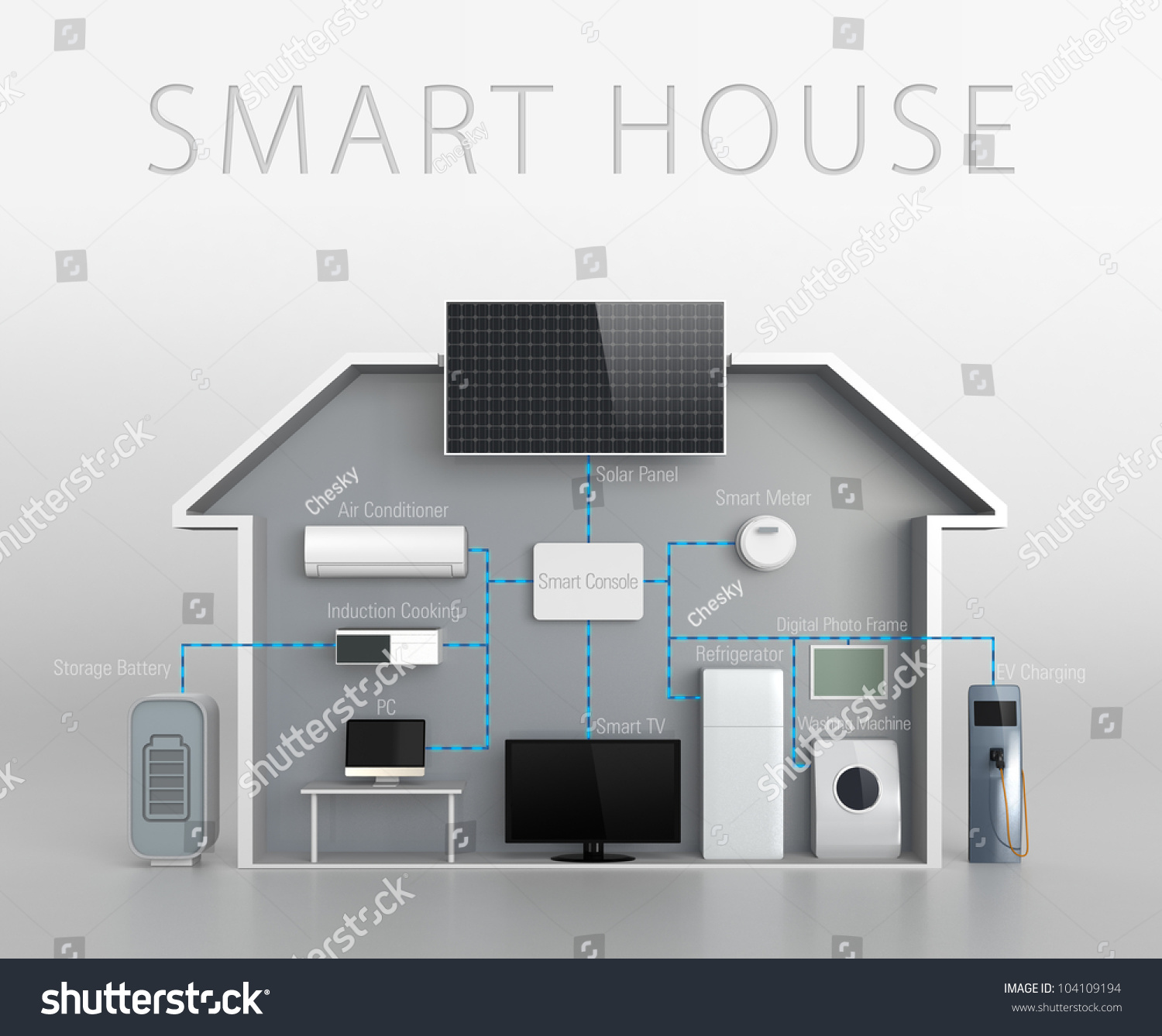smart house concept with text description stock photo 104109194 shutterstock. Black Bedroom Furniture Sets. Home Design Ideas