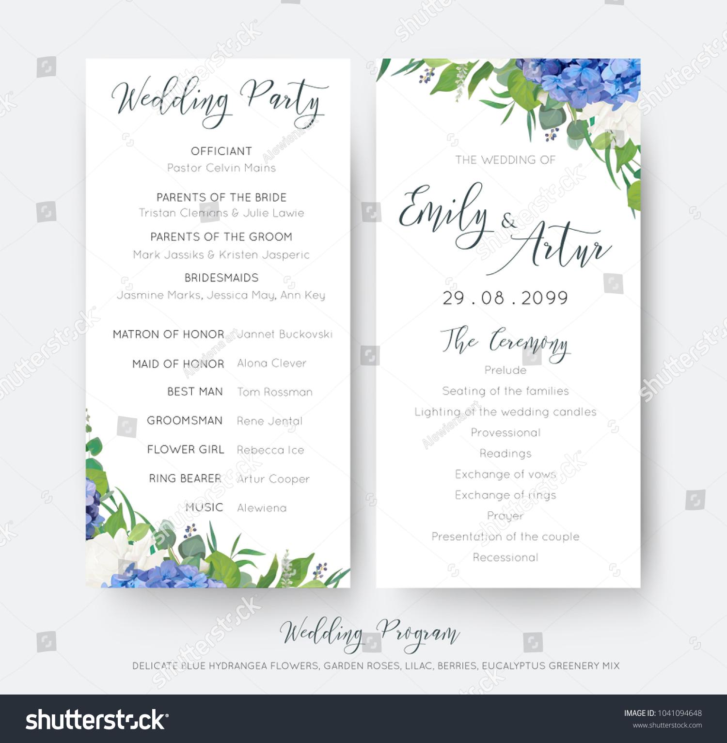 Wedding Floral Wedding Party Ceremony Program Stock Vector Royalty