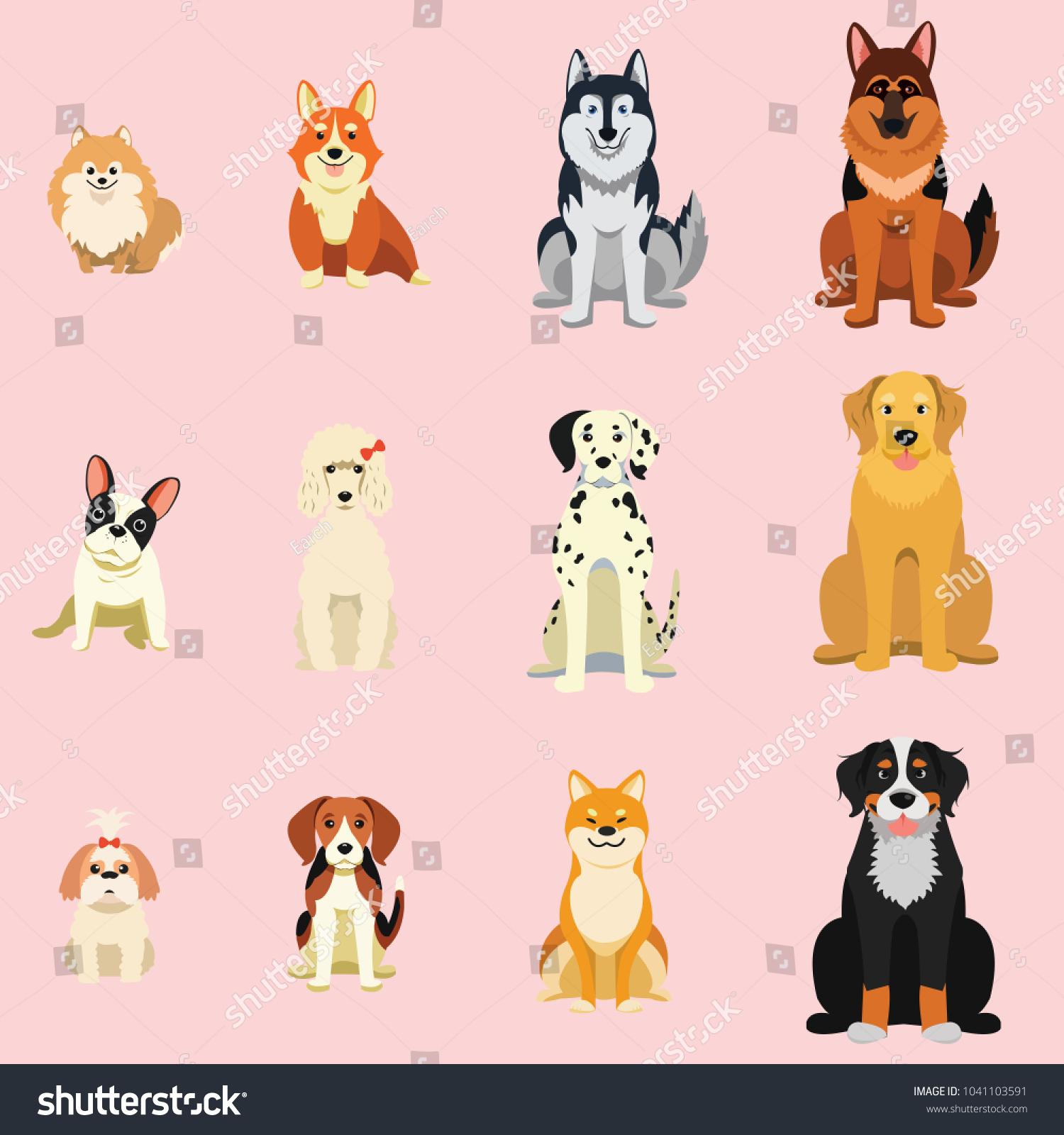 Dogs, Breed as icon cartoon style, Shiba inu, French bulldog, corgi, Siberian Husky, Dalmatian, in icon collection set.