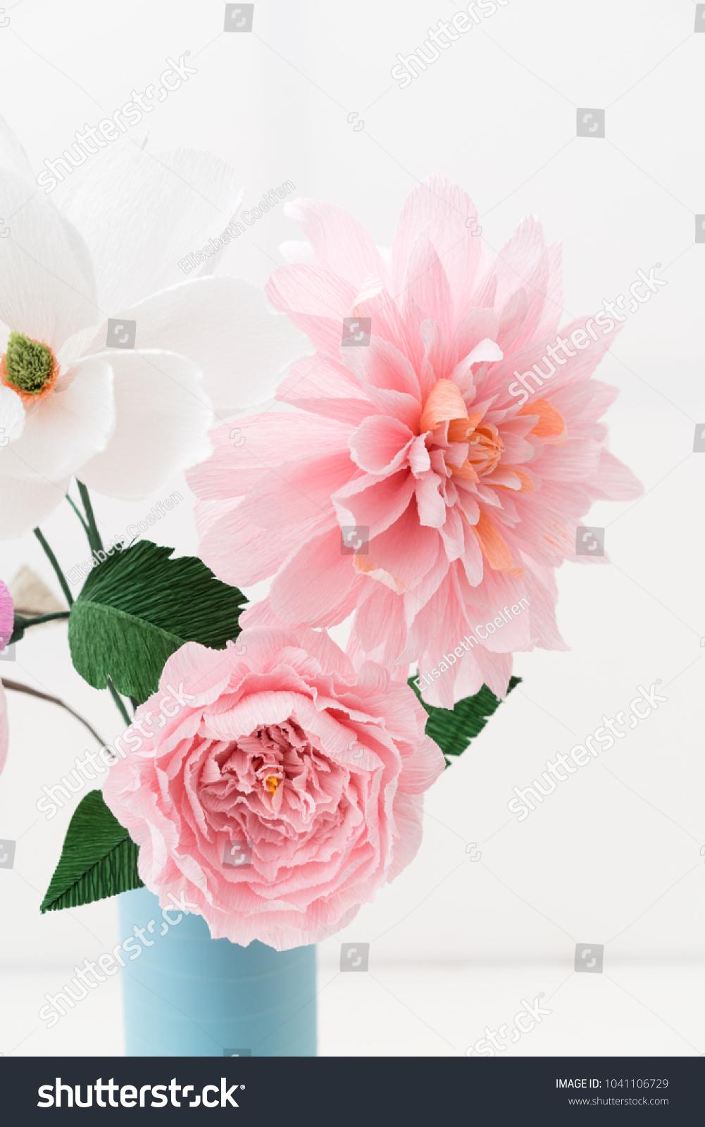 Crepe Paper Flower Bouquet Peonies Dahlia Stock Photo (Edit Now ...
