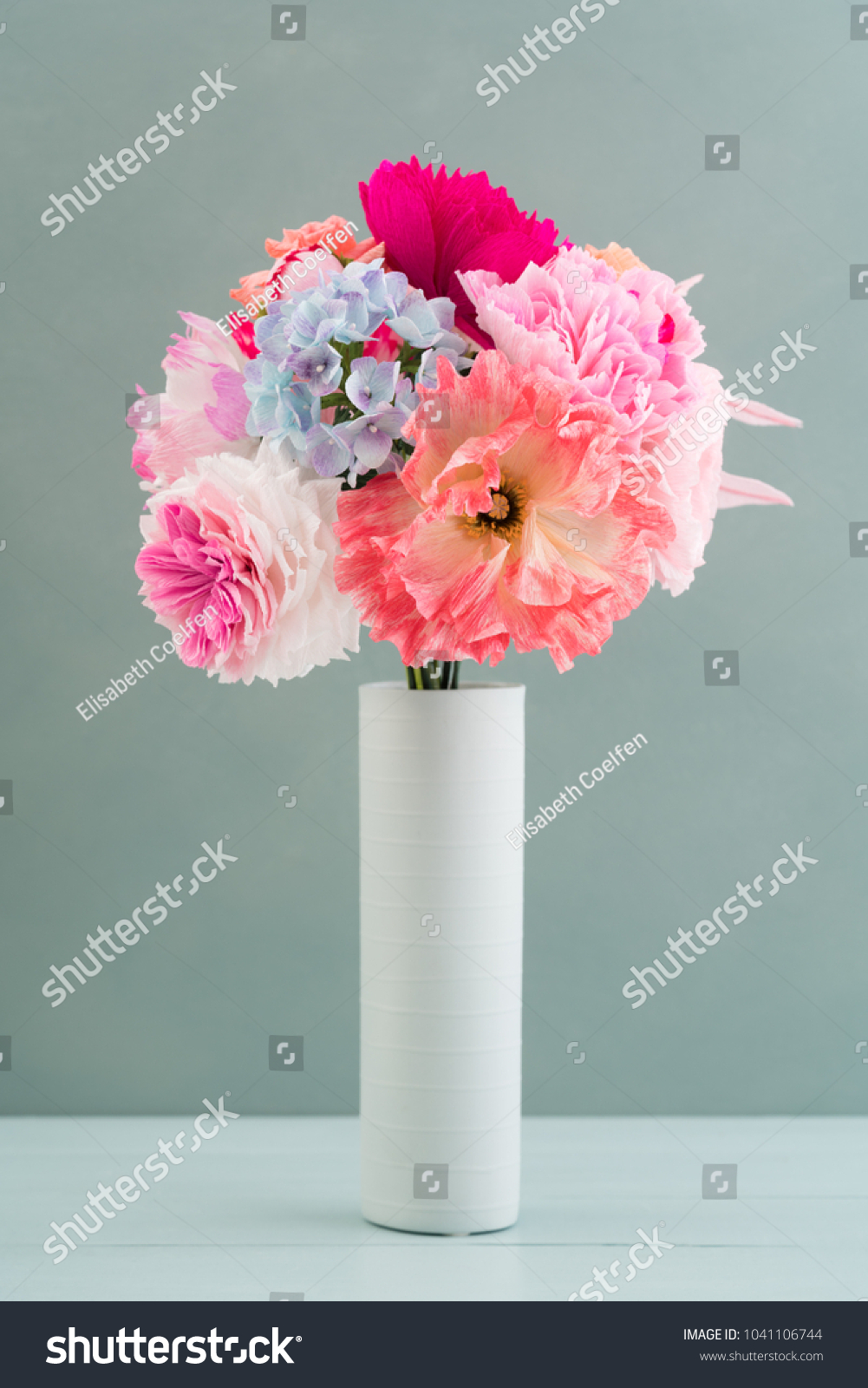 Crepe Paper Flower Bouquet Peonies Hyacinth Stock Photo (Royalty ...