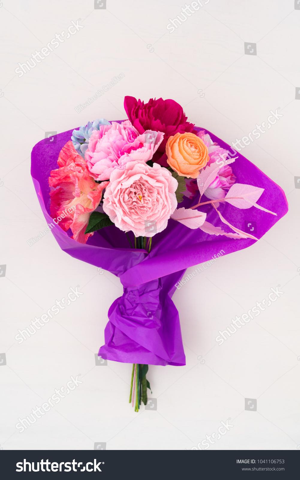 Crepe paper flower bouquet peonies sweet stock photo edit now crepe paper flower bouquet with peonies sweet peas poppies ranunculus roses and izmirmasajfo