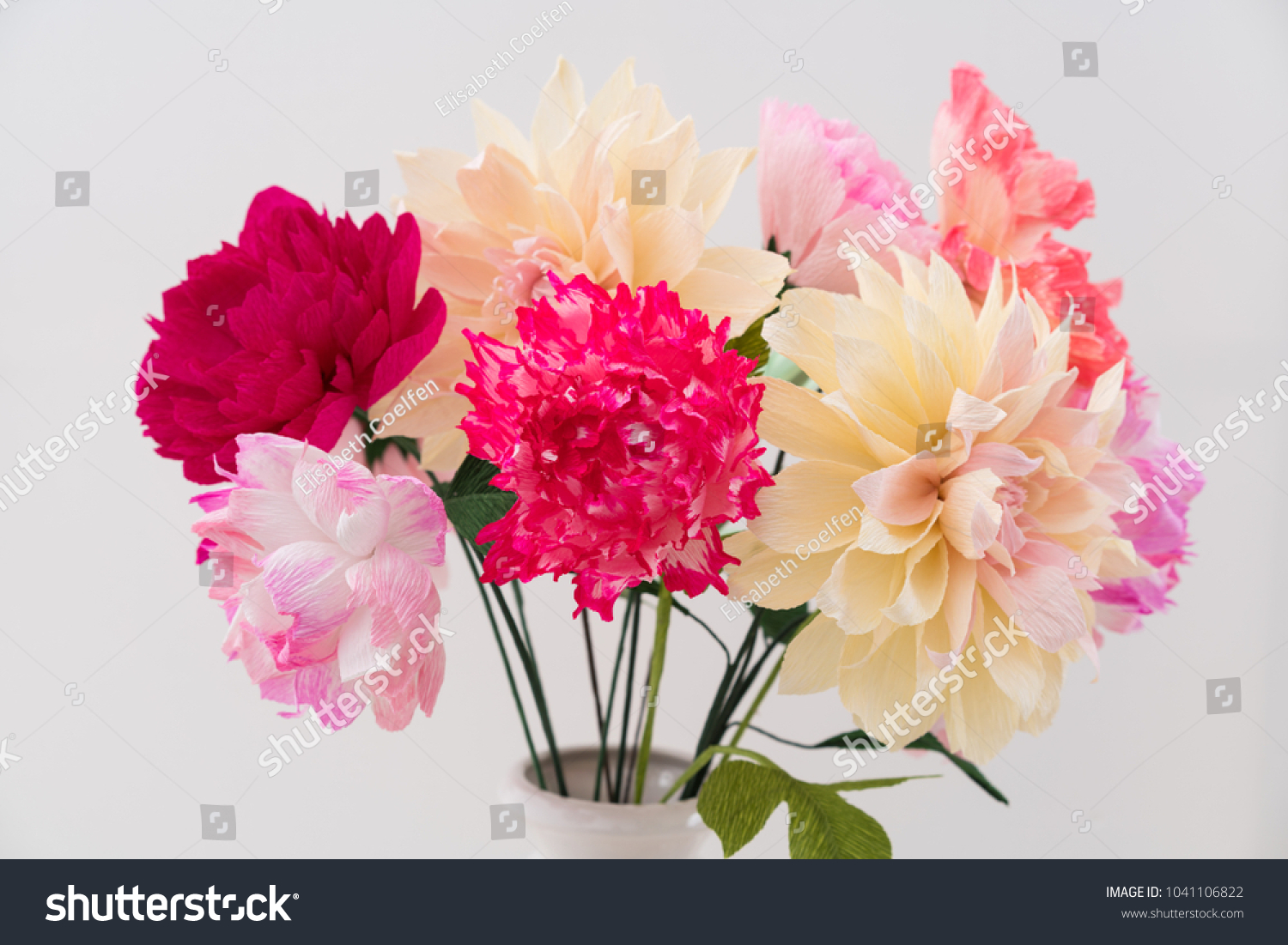 Crepe Paper Flower Bouquet Peonies Dahlia Stock Photo Royalty Free