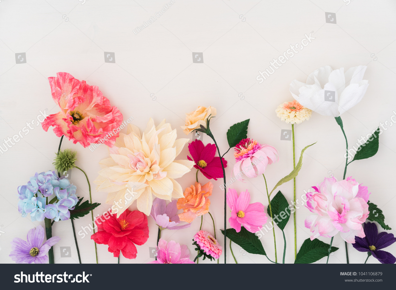 Crepe Paper Flowers On White Wooden Stock Photo Edit Now