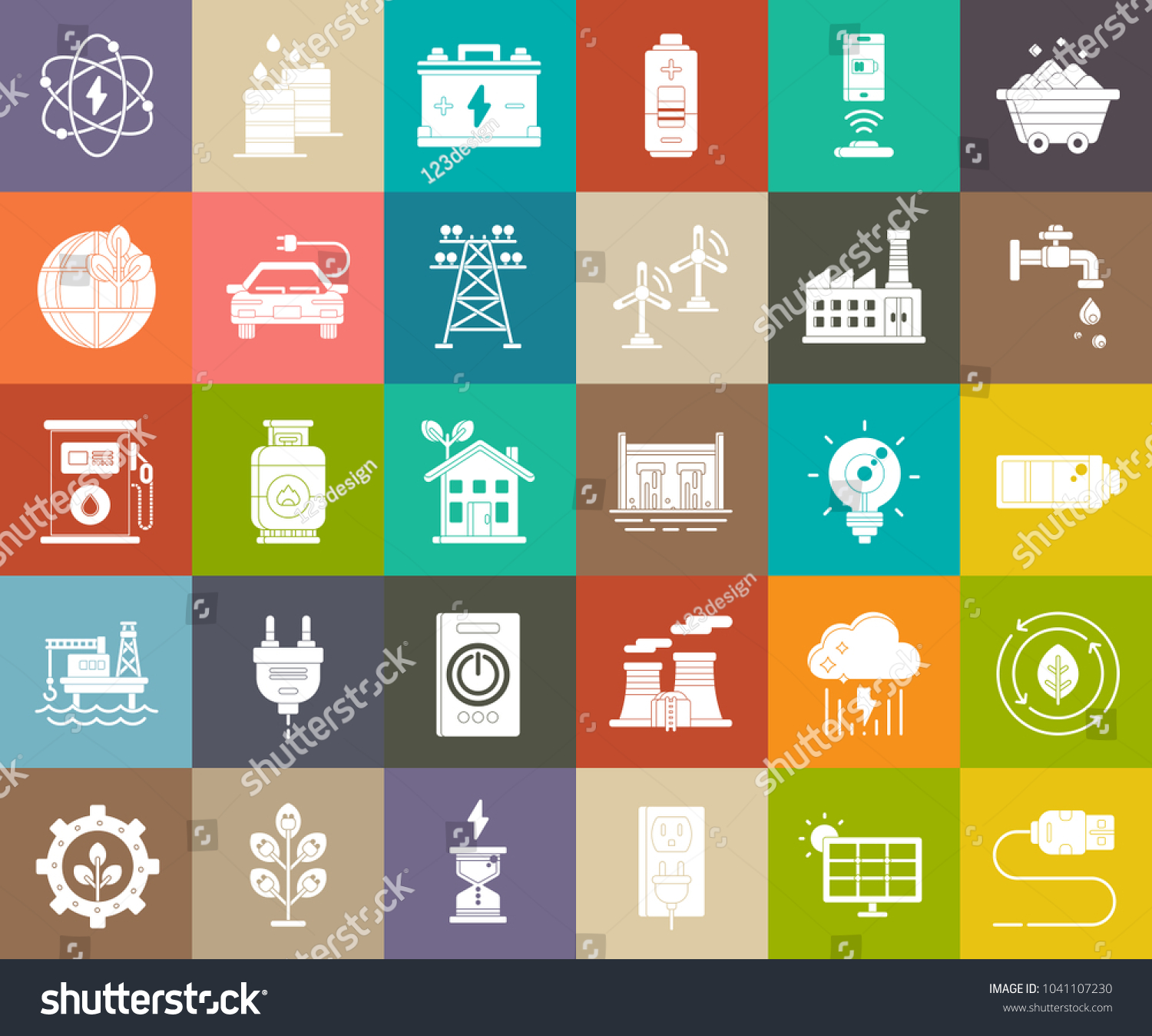 Power energy icons vector electricity symbols stock vector power energy icons vector electricity symbols green ecology signs oil and gas industry biocorpaavc