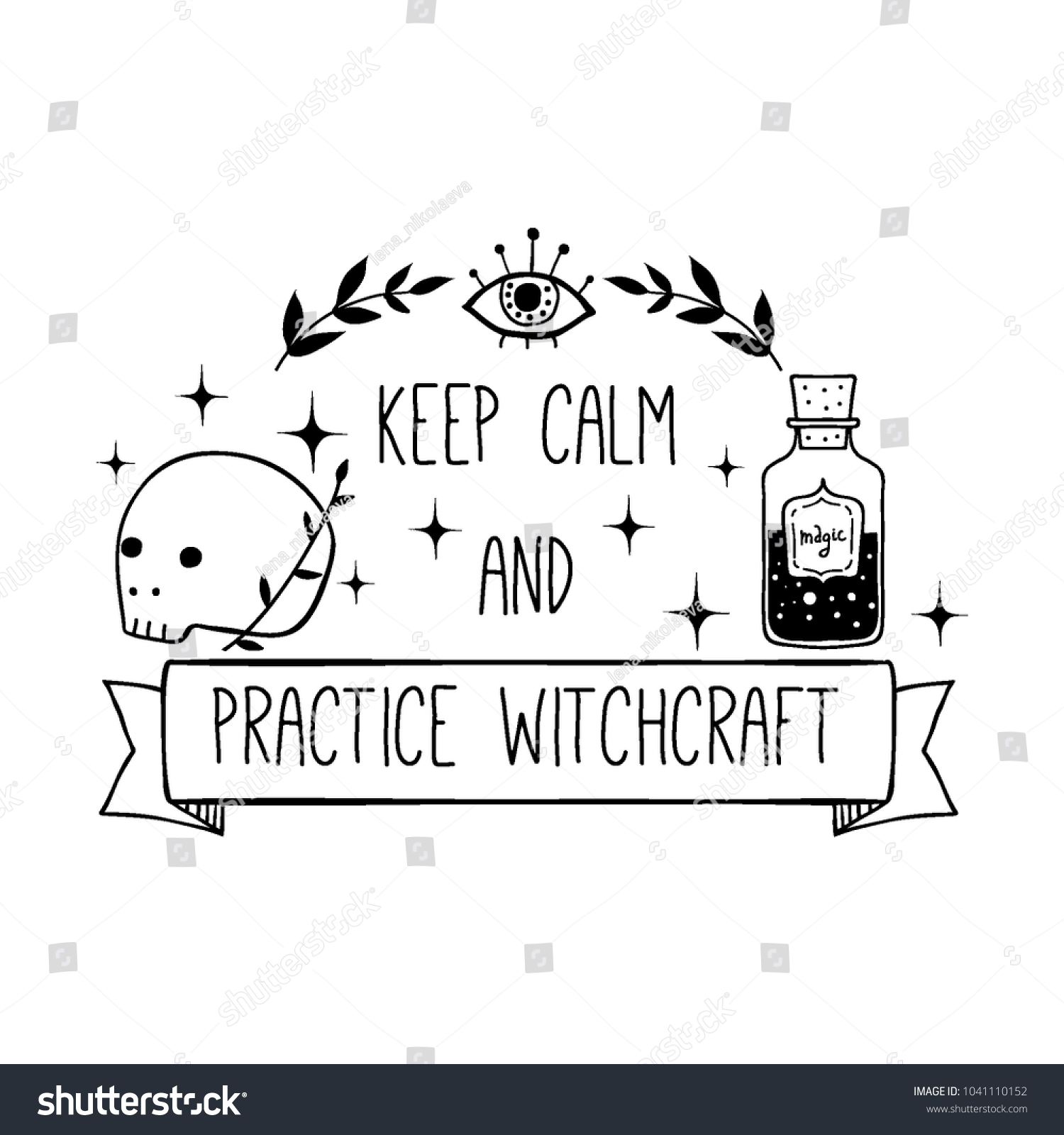 Vector Witch Magic Design Print Text Stock Vector Royalty Free