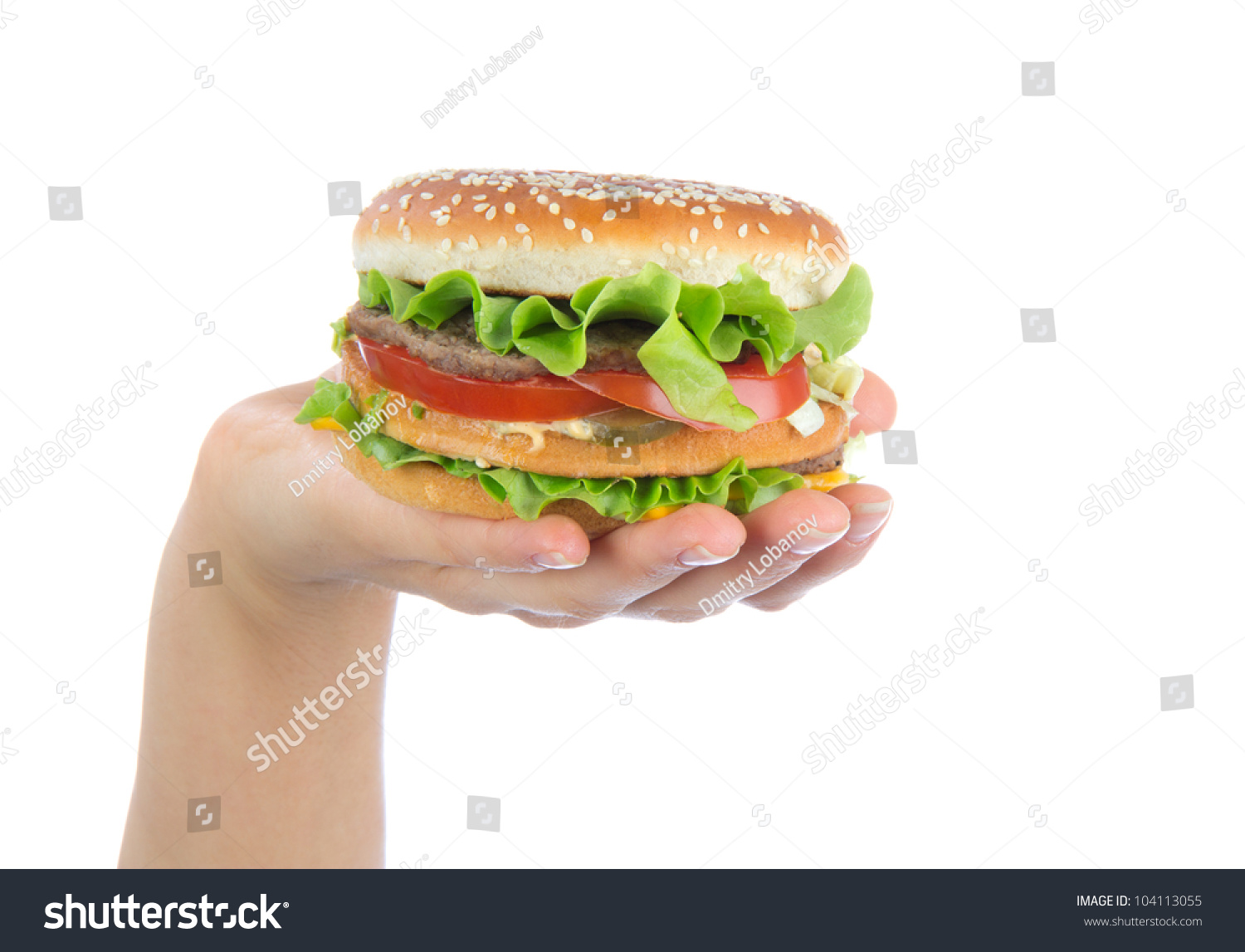 how many calories in hamburger big burger sandwich in hand isolated on a white background stock. Black Bedroom Furniture Sets. Home Design Ideas