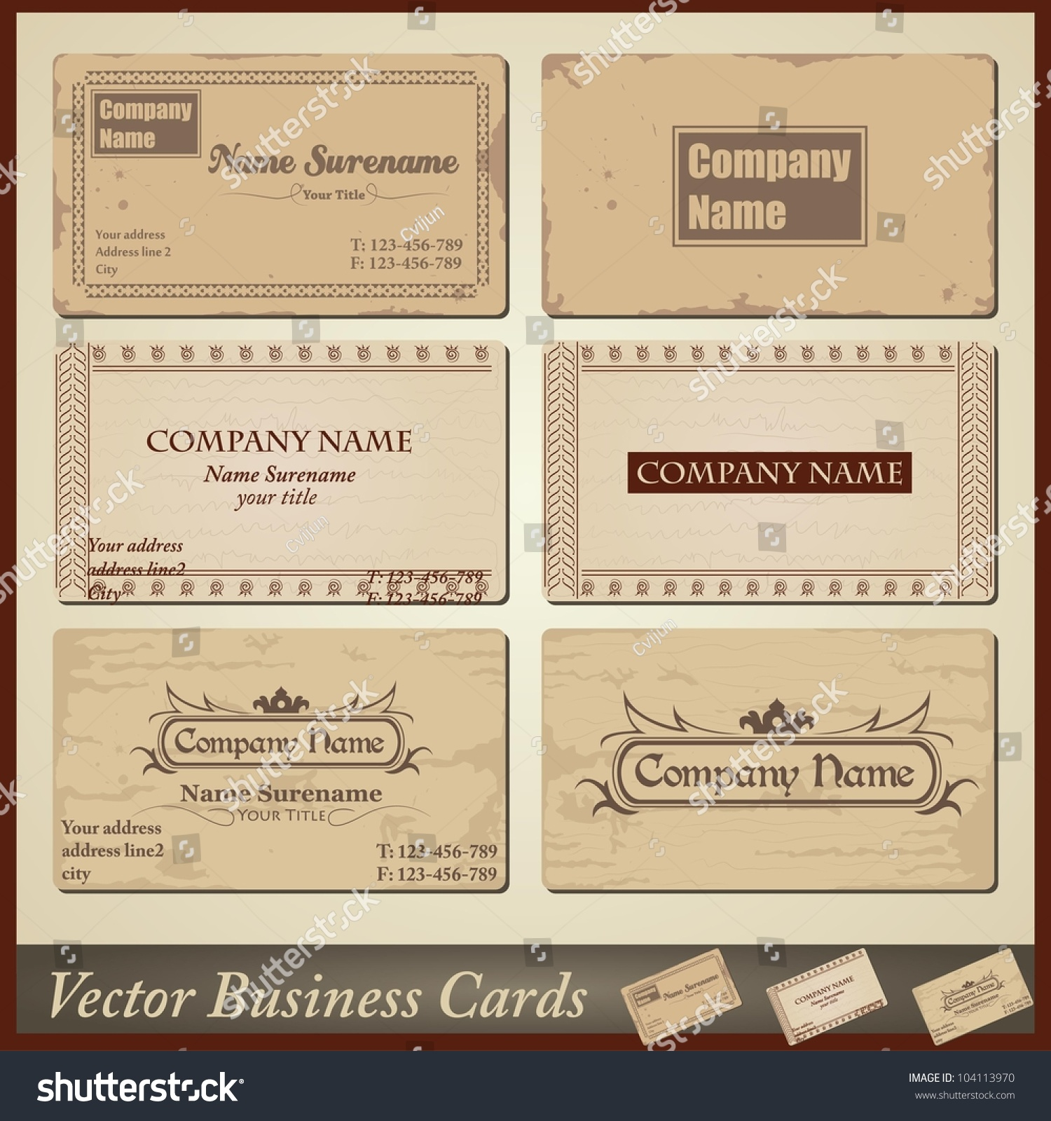 Vector oldstyle retro vintage business cards stock vector vector old style retro vintage business cards both front and back side magicingreecefo Gallery