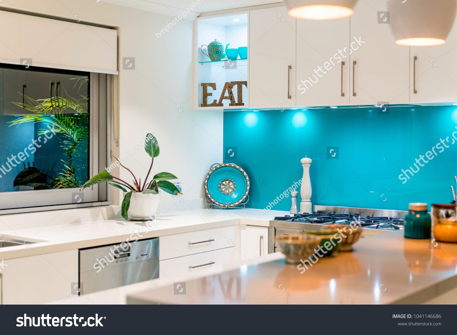 Kitchen Interior Colourful Decor Blue Glass Stock Photo (100% Legal ...