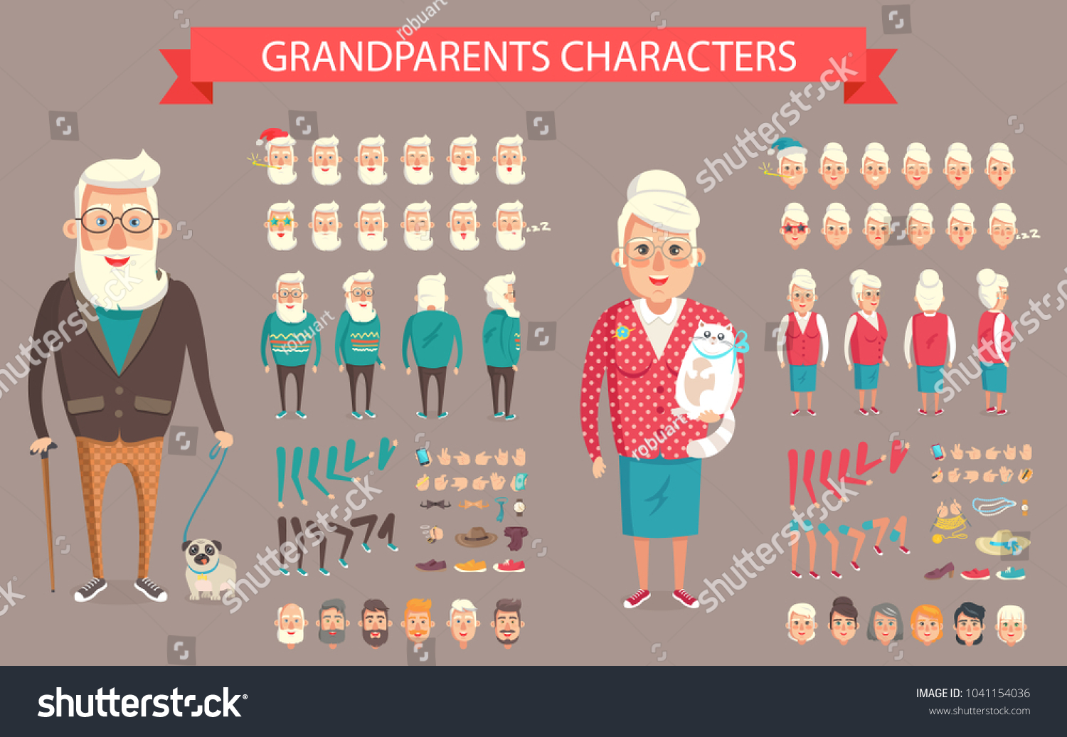 Grandparents Illustration Create Your Own Grandmother Stock ...
